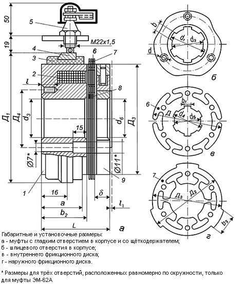 чертеж электромагнитной муфты серии ЭМ