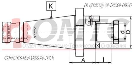Оправка 7311 BISON-BIAL для насадных торцовых фрез Чертеж