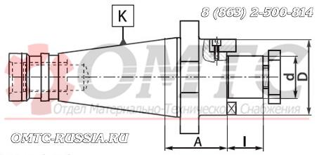Оправка 7311 BISON-BIAL быстросъемная для насадных торцовых фрез Чертеж