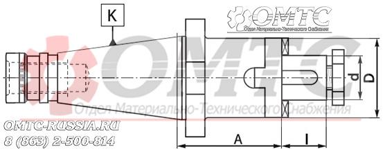 Оправка 7332 BISON-BIAL для насадных торцовых фрез с продольной шпонкой Чертеж