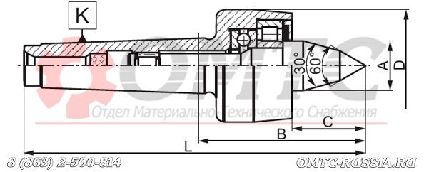 Центр вращающийся 8814 BISON-BIAL Чертеж