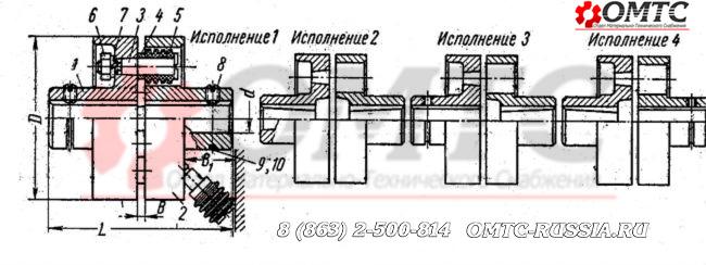 Муфта упругая втулочно-пальцевая (МУВП) Чертеж