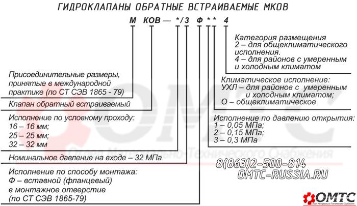 Маркировка гидроклапана МКОВ