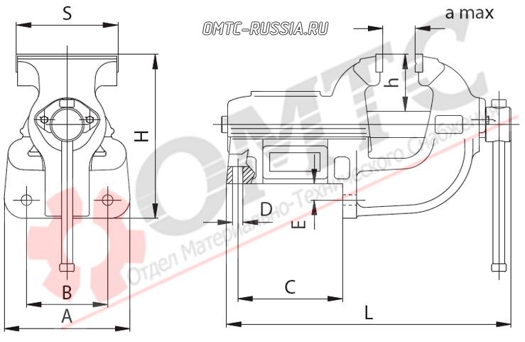 Тиски слесарные с угловым  креплением тип 1240 чертеж
