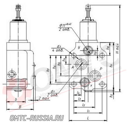 Габаритные размеры гидроклапана стыкового Г66